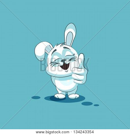 Vector Stock Illustration isolated Emoji character cartoon White leveret approves with thumb up sticker emoticon for site, info graphic, video, animation, websites, e-mails, newsletters, reports, comics