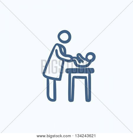 Mother taking care of baby vector sketch icon isolated on background. Hand drawn Mother taking care of baby icon. Mother taking care of baby sketch icon for infographic, website or app.