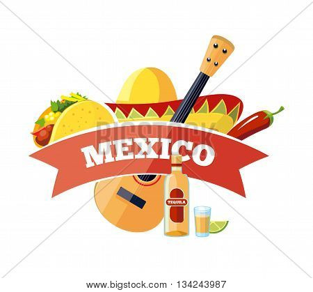 Vector mexican logo and badge design. Illustration isolate on white background