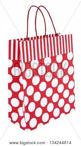 Red white striped dotted paper shopping bag