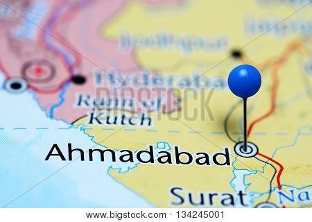 Ahmadabad pinned on a map of India