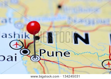 Pune pinned on a map of India