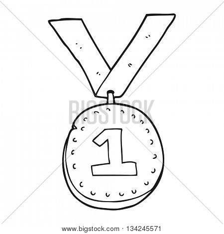 freehand drawn black and white cartoon first place medal