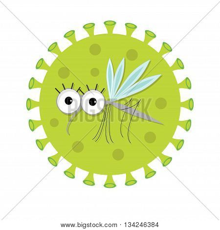 Mosquito. Cute cartoon funny character. Virus Zika sign icon. Insect collection. Flat design. Isolated. White background. Vector illustration