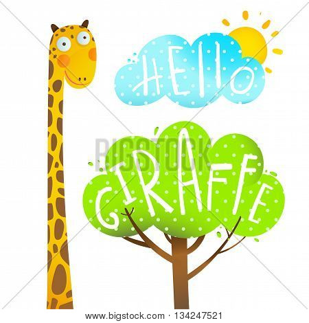 Fun cartoon african giraffe animal with tree, cloud and sun, hello giraffe, cartoon vector illustration.
