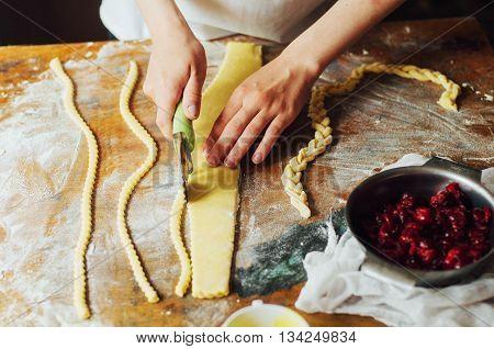 Ingredients For Baking Cake Stuffed With Fresh Cherry Pie. Female Preparing Cherry Pie. Rustic Dark