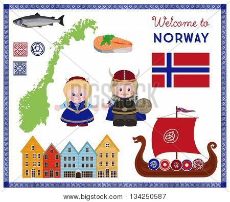 Welcome to Norway traditional scandinavian symbols set with cartoon characters of vikings in ancient scandinavian clothing. Vector illustration