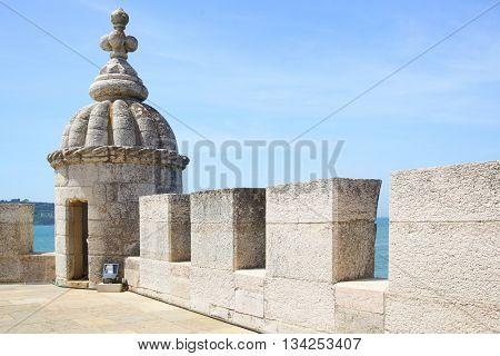 Turret of The Tower of Belem (Torre de Belem), Lisbon, Portugal