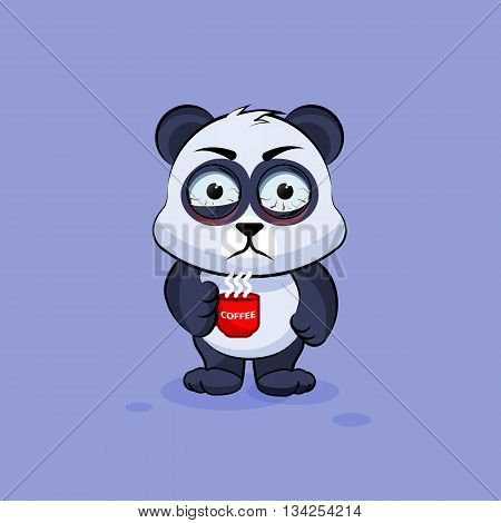Vector Stock Illustration isolated Emoji character cartoon Panda nervous with cup of coffee sticker emoticon for site, info graphic, video, animation, websites, e-mails, newsletters, reports, comics