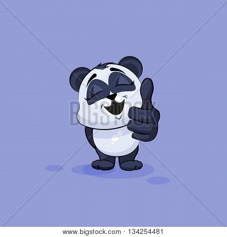 Vector Stock Illustration isolated Emoji character cartoon Panda approves with thumb up sticker emoticon for site, info graphic, video, animation, websites, e-mails, newsletters, reports, comics
