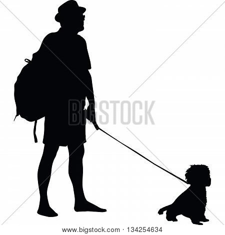 man and dog are standing and watching