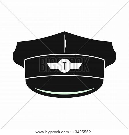 Cap taxi driver icon in simple style isolated on white background