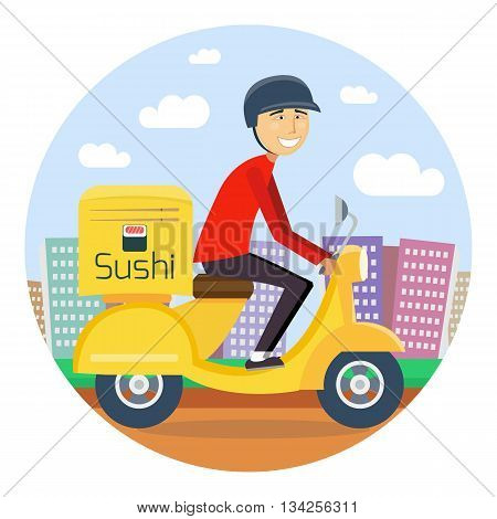 Sushi or food delivery concept. Boy riding on scooter or motorcycle, delivering fastfood. Fast and free Transport. Free shipping, sushi restaurant service. vector flat cartoon illustration