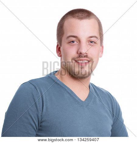 smiling young man with goatee beard isolated on white