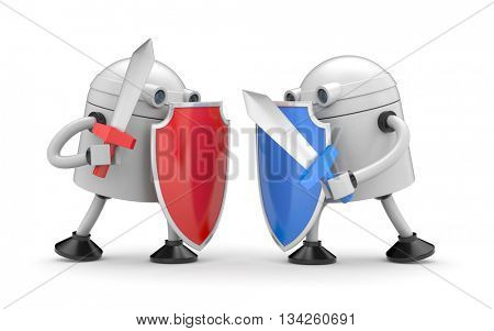 The battle of two robots. 3d illustration