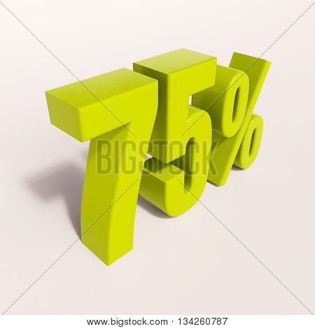 3d render: green 75 percent, percentage discount sign on white, 75%