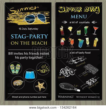 Vector illustration of stag-party invit on the beach. Holiday, vacation, invitation card,  wedding invitation,  party invitation,  invitation template