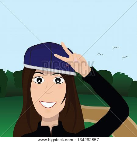Vector beautiful fashionable girl makes peace sign hands, smiles a happy smile