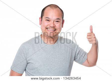 Asian man showing thumb up