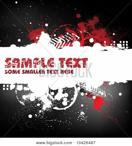 Grunge background with blots and place for your text (black, white and red)