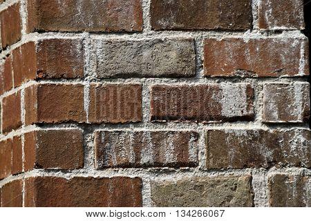 Corner red brick wall at historic building Georgia, USA