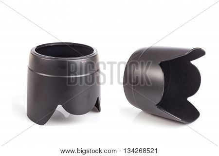Close Up Black Lens Hoods Isolated On  White