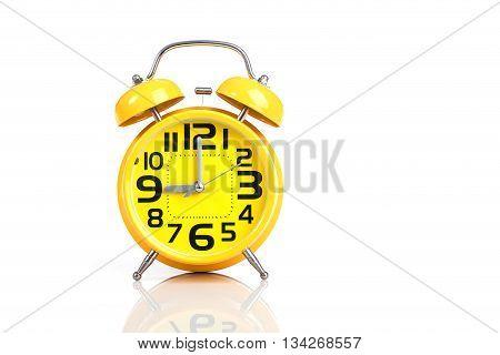Yellow Alarm Clock Isolated On White Background