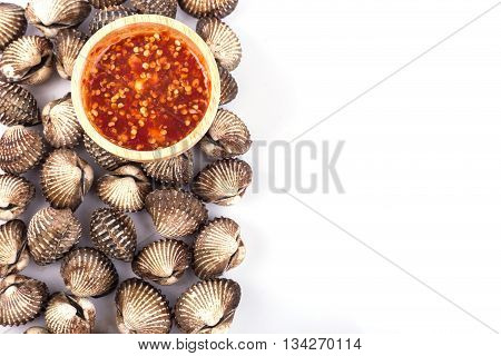 Boiled Blood Cockle With Sauce Isolated On White Background