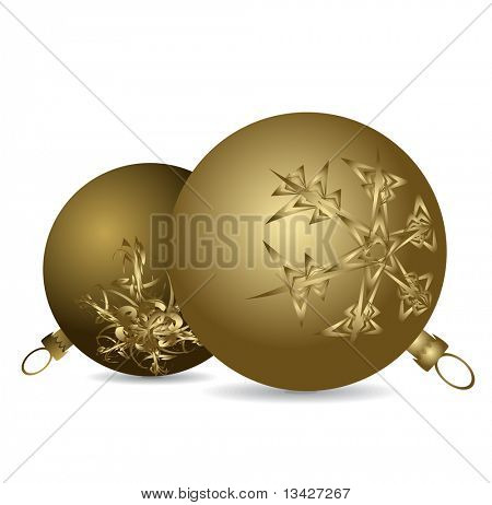 Golden Christmas bulbs with snowflakes ornaments on a white background