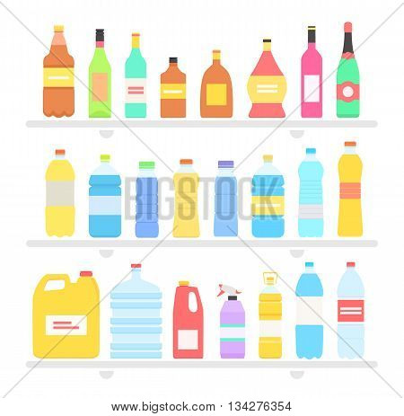 Bottle set design flat oil and beverage. Bottle and water bottle, plastic bottle, wine bottle, beer bottle, glass bottle, beverage bottle, oil bottle, drink bottle, whiskey bottle illustration