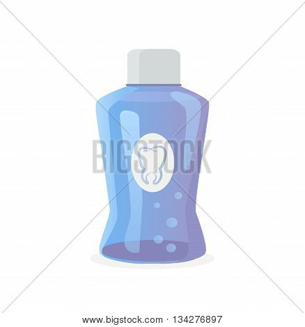 Dental tooth rinse concept on white. Dental tooth care technology. Healthy tooth hygiene. Clean tooth. Vector illustration