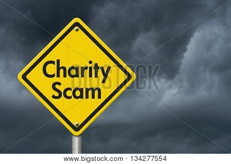 Charity Scam yellow warning highway road sign Yellow warning highway sign with words Scam Alert with stormy sky background, 3D Illustration