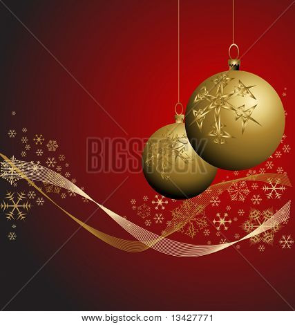 Golden Christmas bauble with snowflakes on red background poster