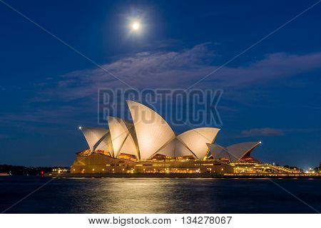 Sydney Opera House With Moon