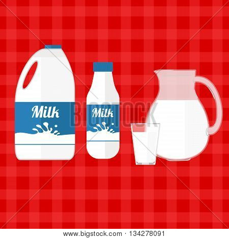 Colorful vector illustration of ftesh milk in different container.