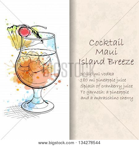 Cocktail Maui Island Breeze. A beach cocktail with perfect amount of sweet and tart flavor. Booklet with detailed recipe. Hand drawn vector illustration.