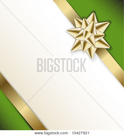 Golden bow on a ribbon with white and green background - vector Christmas card poster