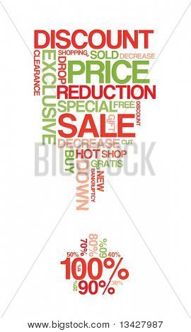Red and green sale discount poster with white background (vector)