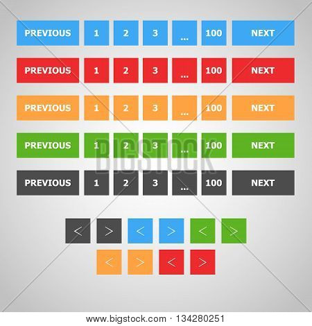 Pagination Bars | Web Site UI Elements | Flat Design Elements| Blue, Red, Green, Yellow, Grey Color