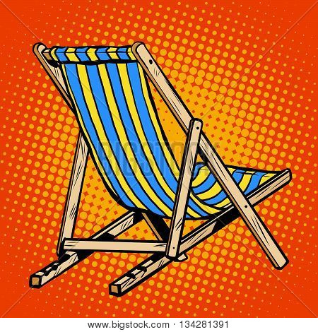 deck chair striped blue beach lounger pop art retro vector. Realistic sun lounger