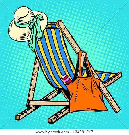 deck chair with beach things women pop art retro vector. Hat and handbag