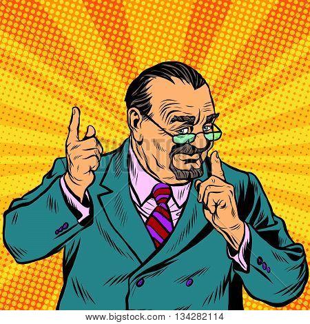 Retro Professor with a beard pop art retro vector. Scientist Professor actively gesturing