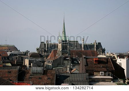 Lausanne city view. Roof of buildings in Old town. Switzeland.