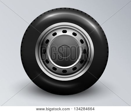 Realistic car wheel. Editable vector illustration.