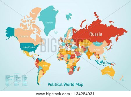 Earth map with countries divided by color and description of political world map vector illustration