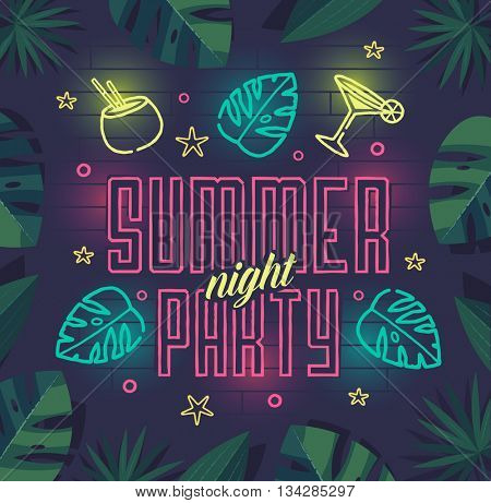 Summer beach party poster. Vector illustration