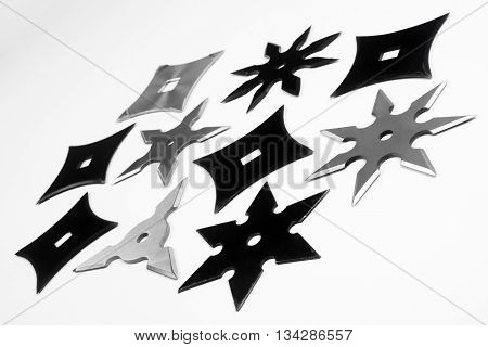 The different shurikens are on white background.
