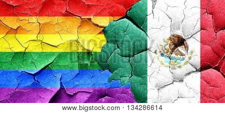 Gay pride flag with Mexico flag on a grunge cracked wall