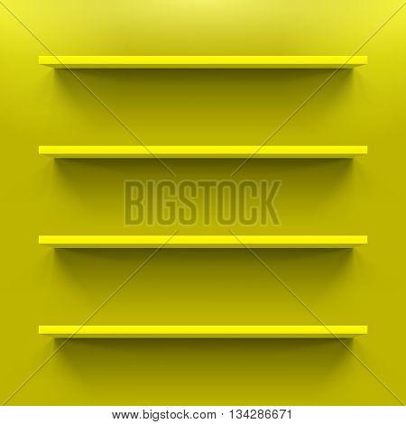 Four horizontal yellow bookshelves on the wall
