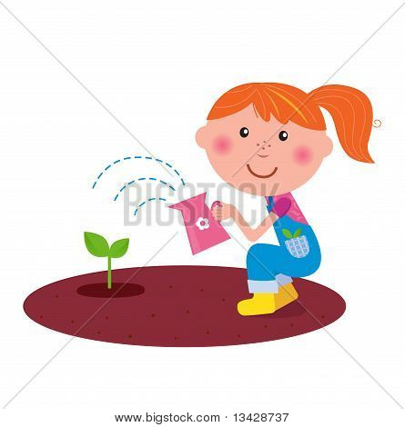 Small gardener girl watering plant in the garden